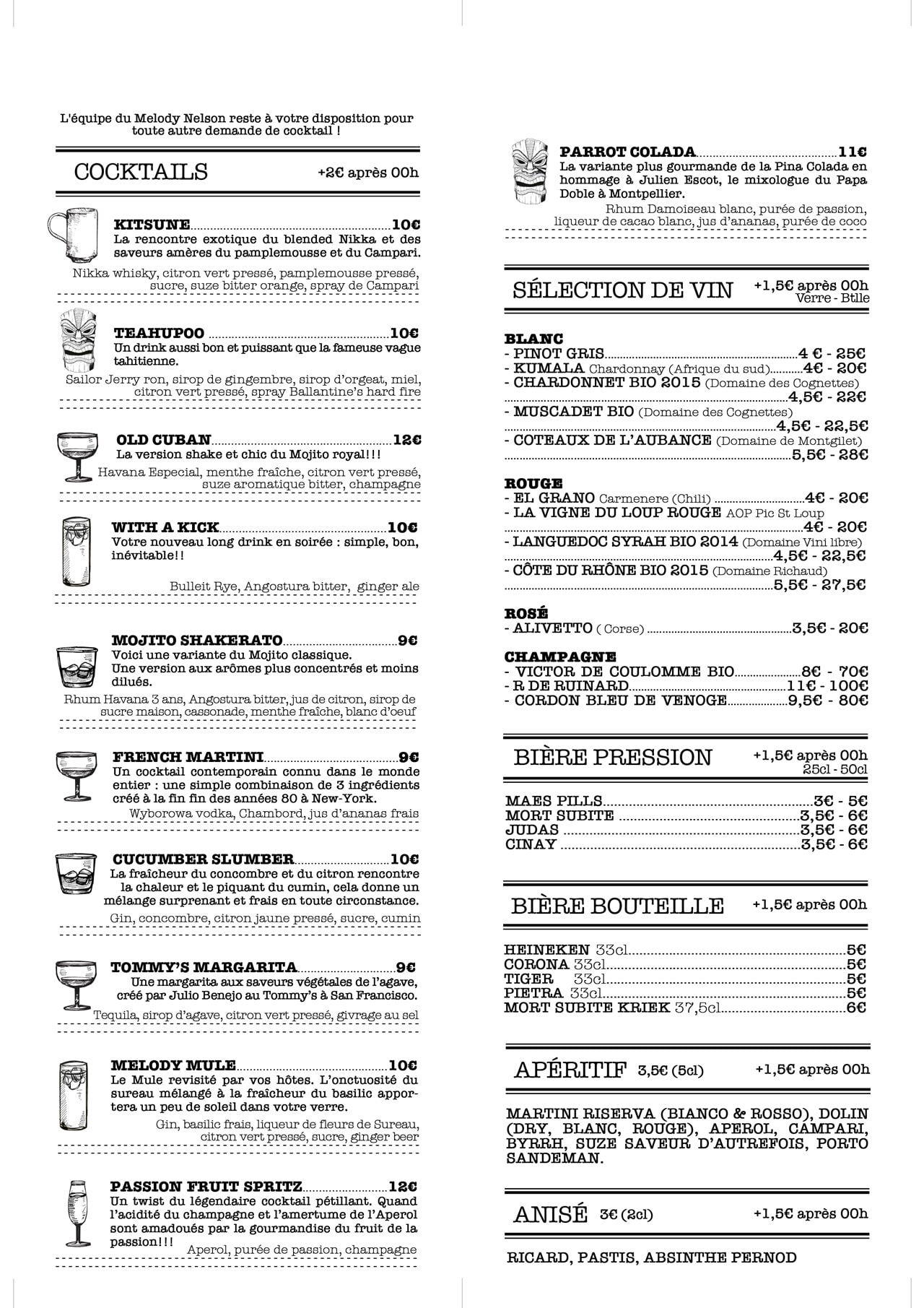 Carte de notre bar à cocktail à Rennes